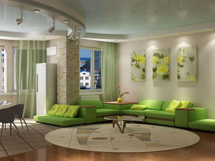 Wedo thiết kế nội thất phòng khách trẻ trung, tươi sáng với màu xanh lá cây 6