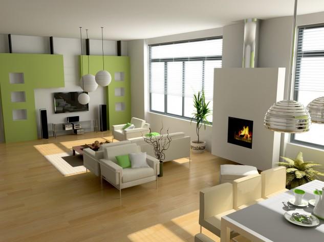 Wedo thiết kế nội thất phòng khách trẻ trung, tươi sáng với màu xanh lá cây 4