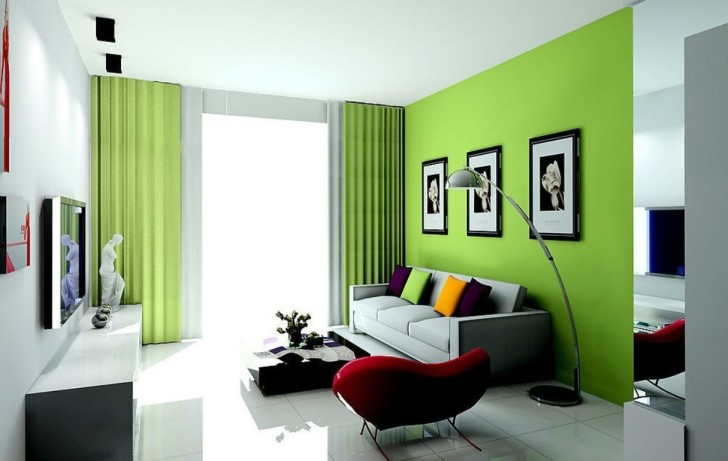 Wedo thiết kế nội thất phòng khách trẻ trung, tươi sáng với màu xanh lá cây 9
