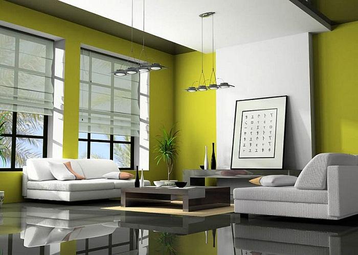 Wedo thiết kế nội thất phòng khách trẻ trung, tươi sáng với màu xanh lá cây 11