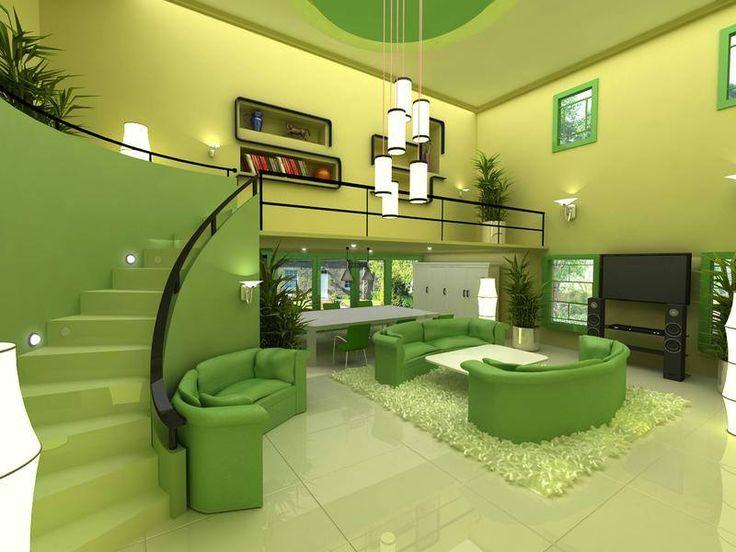 Wedo thiết kế nội thất phòng khách trẻ trung, tươi sáng với màu xanh lá cây