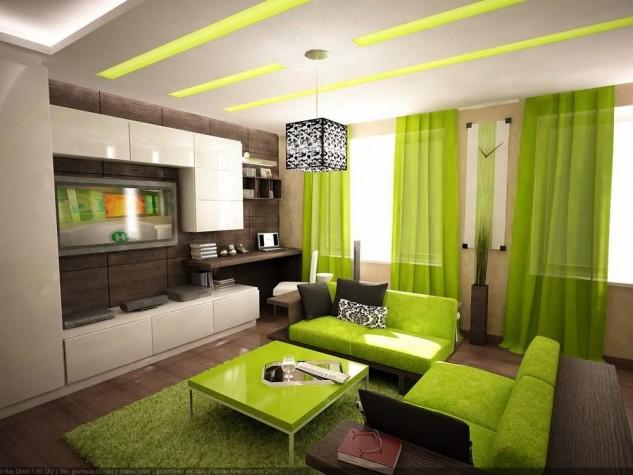 Wedo thiết kế nội thất phòng khách trẻ trung, tươi sáng với màu xanh lá cây 2