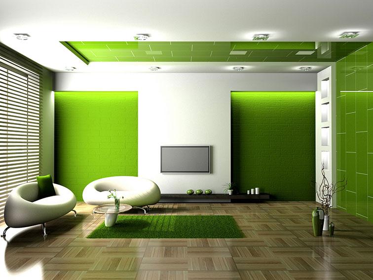 Wedo thiết kế nội thất phòng khách trẻ trung, tươi sáng với màu xanh lá cây 8