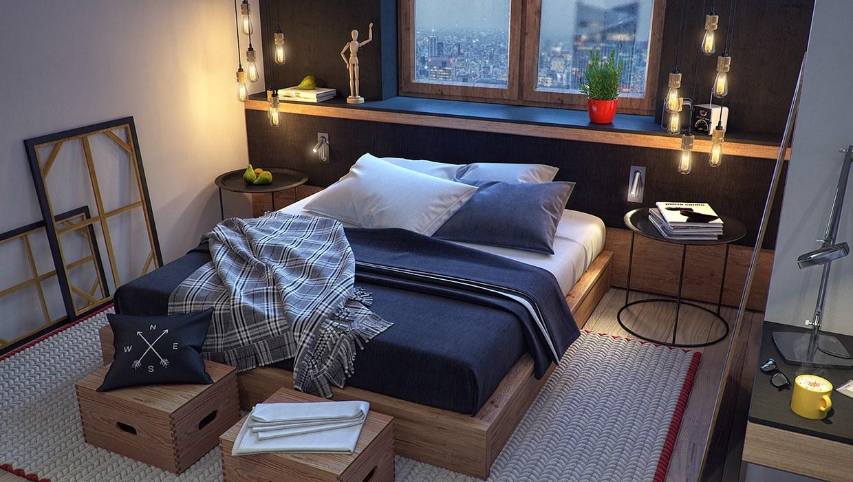 Wedo thiết kế nội thất phòng ngủ sáng tạo cho nhà đẹp với màu xanh