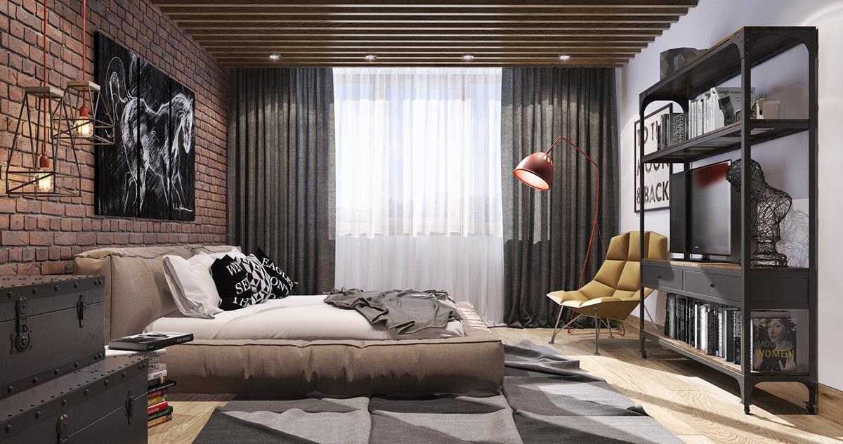 Wedo thiết kế nội thất phòng ngủ sáng tạo với tường gạch trần và gỗ mộc mạc