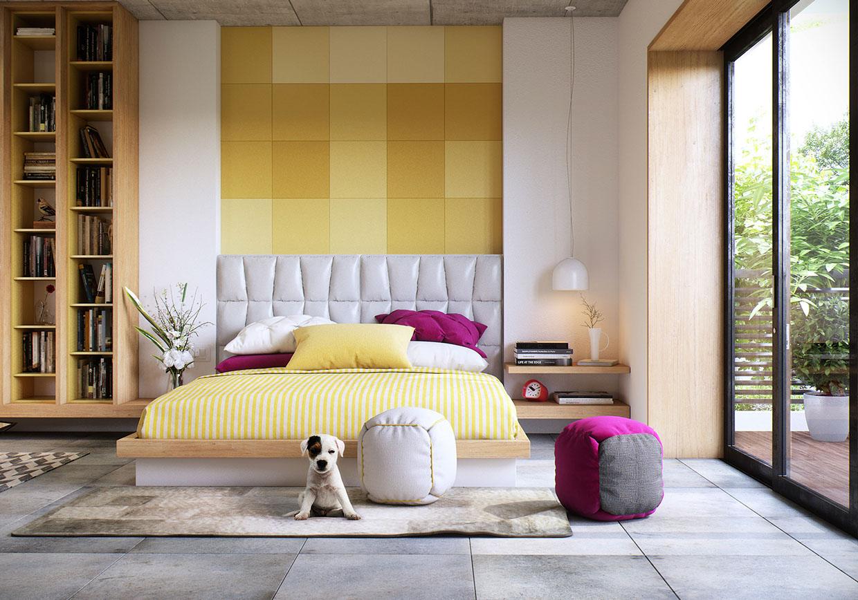 Wedo thiết kế nội thất phòng ngủ sáng tạo với sắc vàng, hồng và trắng tinh tế