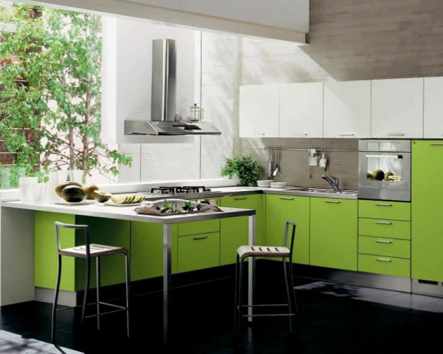 Wedo thiết kế nội thất đáng yêu và tươi mát cho nhà bếp với màu xanh lá cây và màu trắng