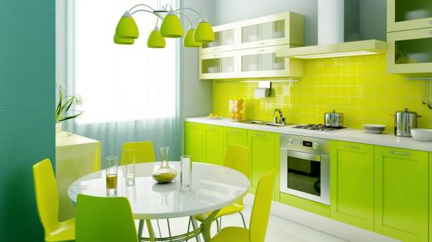 Wedo thiết kế nội thất đáng yêu và tươi mát cho nhà bếp với màu xanh lá cây