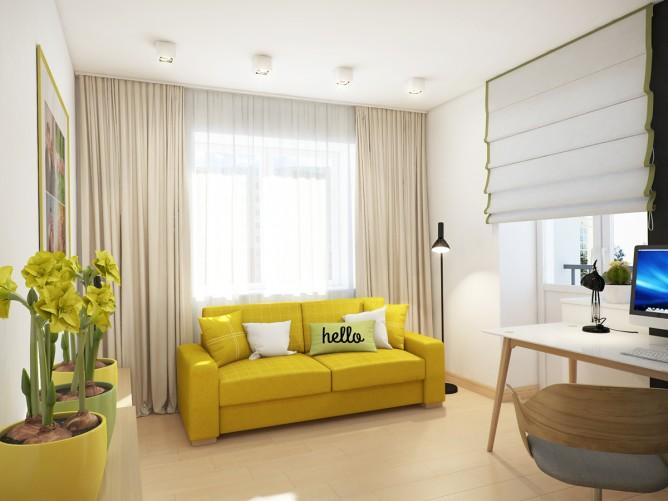 Wedo thiết kế nội thất phòng khách đẹp màu vàng theo chủ đề