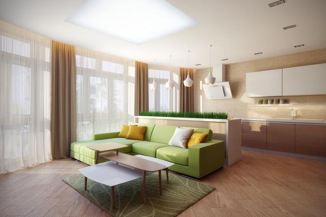 Wedo thiết kế nội thất phòng khách màu xanh cốm đẹp theo chủ đề
