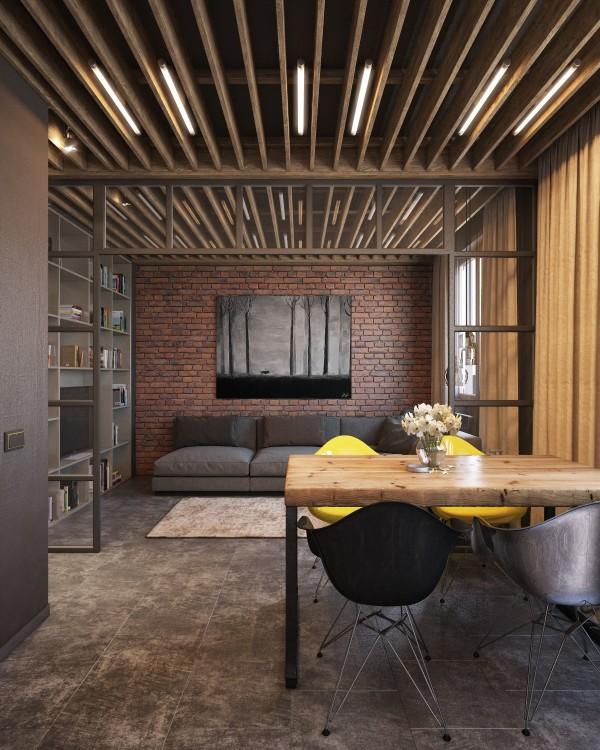 Wedo thiết kế nội thất phòng khách, phòng ăn đẹp, trầm ấm, đơn giản và đẳng cấp với gạch trần