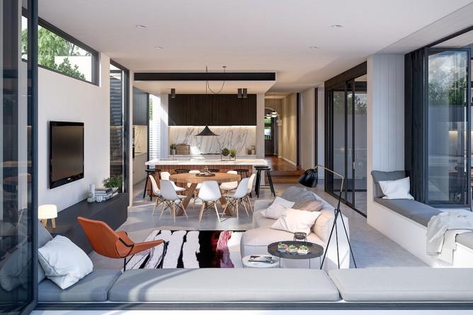 Wedo thiết kế nội thất phòng khách hiện đại, trẻ trung và sang trọng