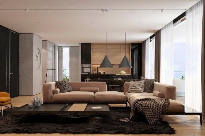 Wedo thiết kế nội thất phòng khách với tone màu trầm sang trọng, ấp áp
