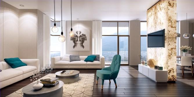 Wedo thiết kế nội thất phòng khách hiện đại, tươi sáng và trẻ trung, sang trọng