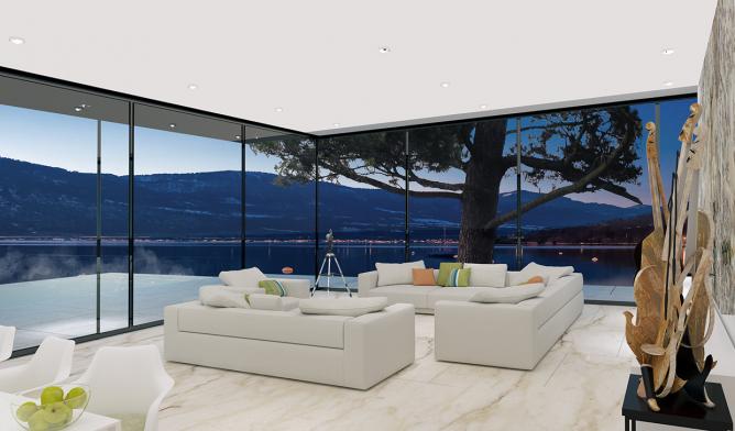 Wedo thiết kế nội thất phòng khách sang trọng với tường kính
