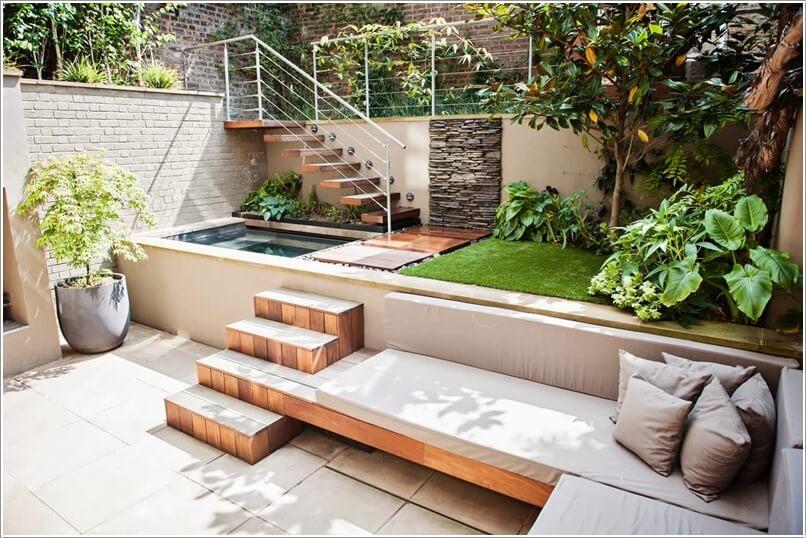 Wedo thiết kế tiểu cảnh sân vườn đẹp và độc đáo với bậc cầu thang gỗ