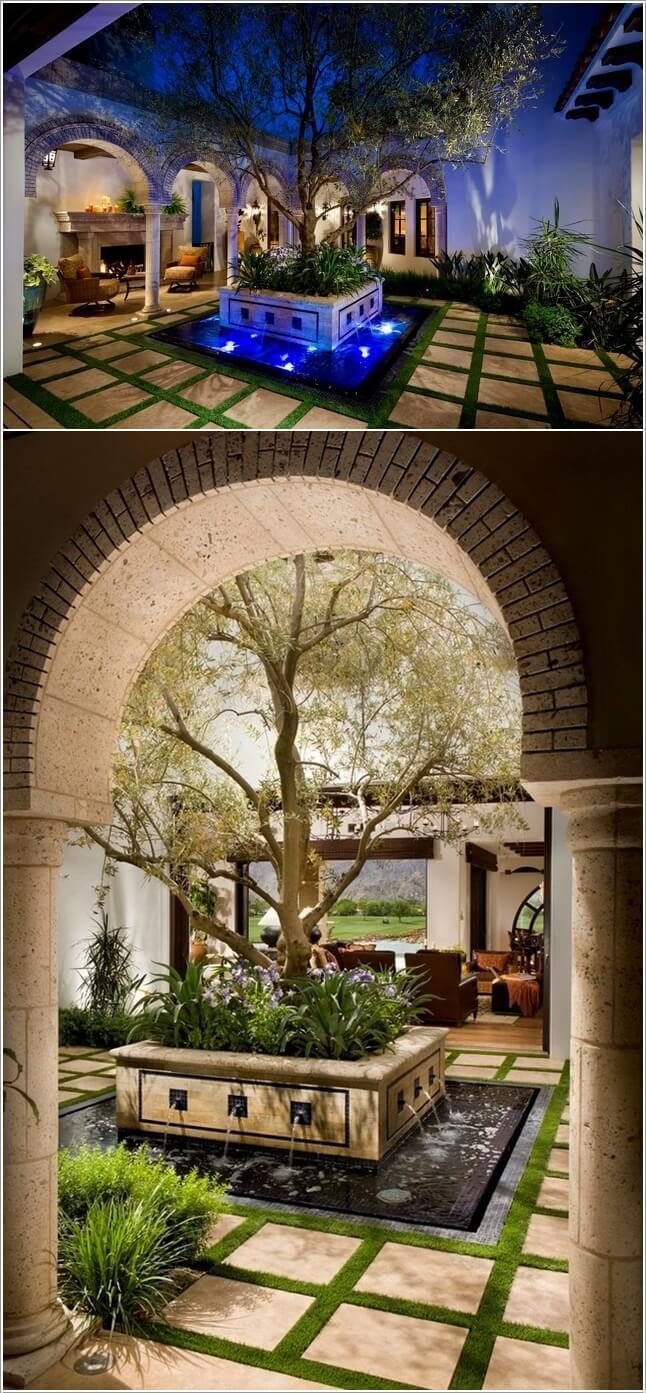 Wedo thiết kế tiểu cảnh sân vườn đẹp và độc đáo với gạch và cây xanh