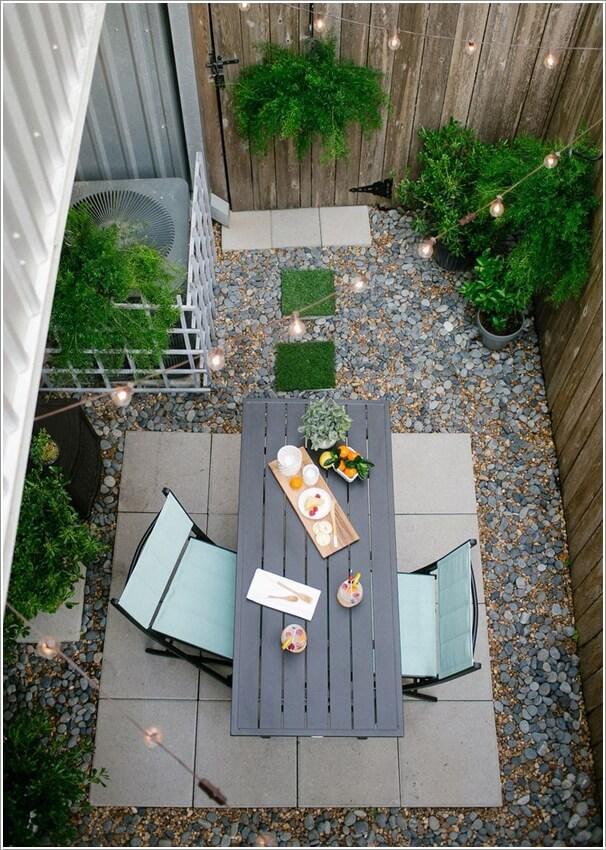 Wedo thiết kế tiểu cảnh sân vườn đẹp và độc đáo với bàn ăn dài và sỏi