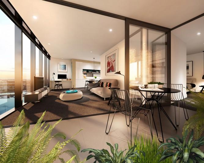 Wedo thiết kế nội thất sang trọng cho phòng ăn, phòng khách căn hộ cao cấp