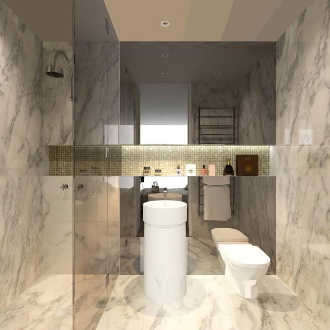 Wedo thiết kế nội thất sang trọng cho phòng tắm, nhà vệ sinh căn hộ cao cấp