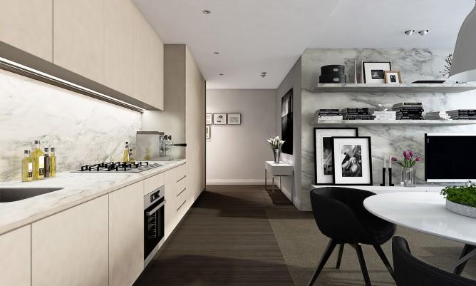 Wedo thiết kế nội thất sang trọng cho phòng ăn và nhà bếp căn hộ cao cấp