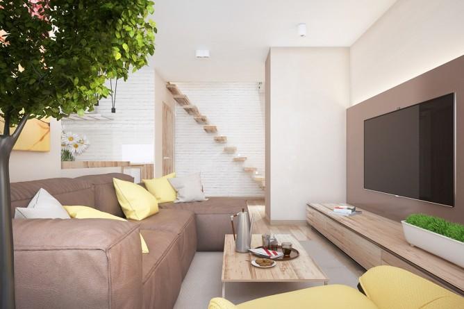 Wedo thiết kế nội thất phòng khách đơn giản, tươi sáng và vui vẻ với màu vàng