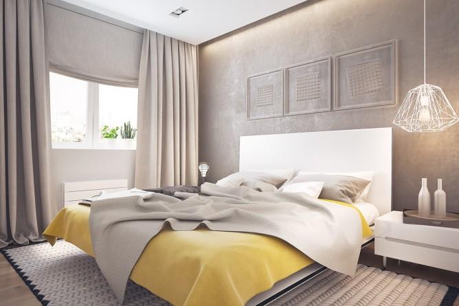 Wedo thiết kế nội thất phòng ngủ đơn giản, tươi sáng và vui vẻ màu vàng