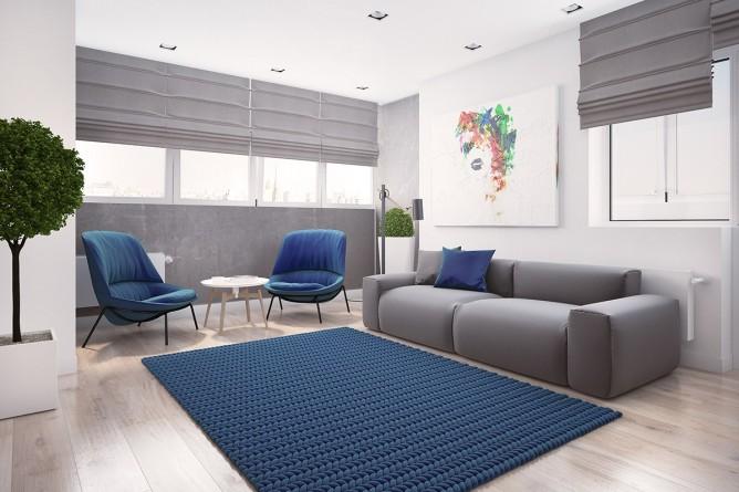 Wedo thiết kế nội thất phòng khách đơn giản, tươi sàng và vui vẻ với màu xanh dương