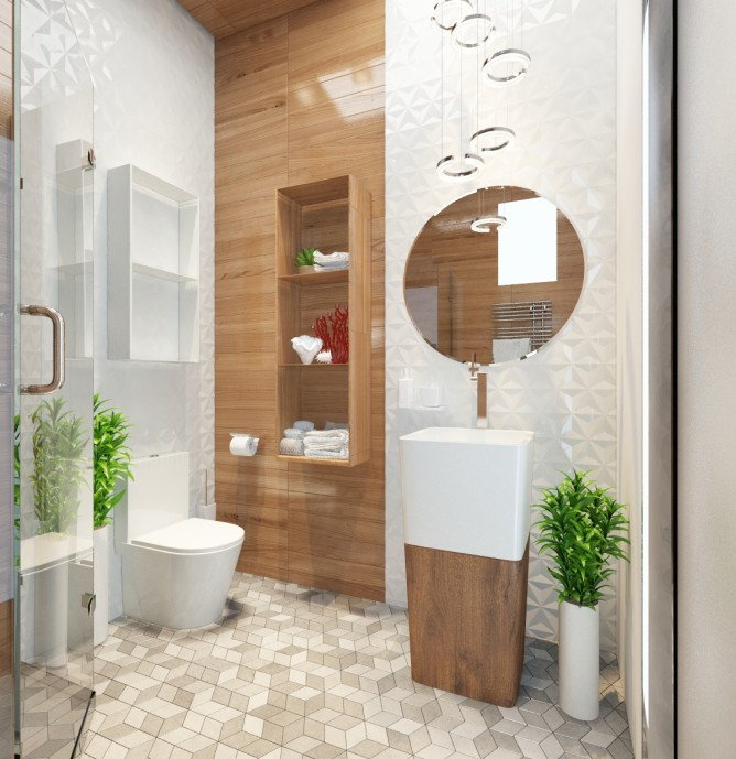 Wedo thiết kế nội thất phòng tắm đơn giản hiện đại cho nhà đẹp