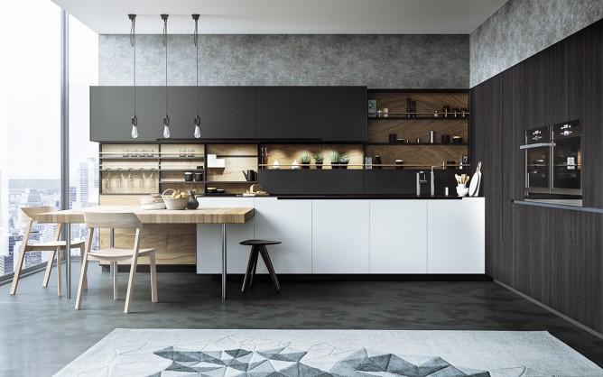 Wedo thiết kế nội thất nhà bếp đẹp với 2 màu đen trắng và gỗ hiện đại