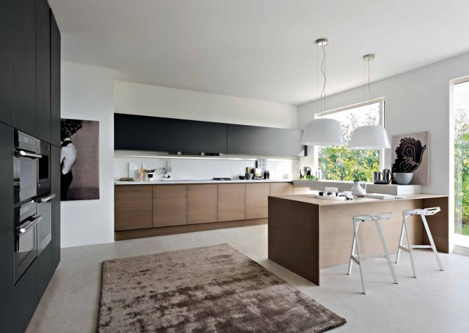 Wedo thiết kế nội thất nhà bếp đẹp với 2 màu đen trắng và gỗ