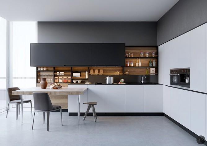 Wedo thiết kế nội thất nhà bếp đẹp với 2 màu đen trắng