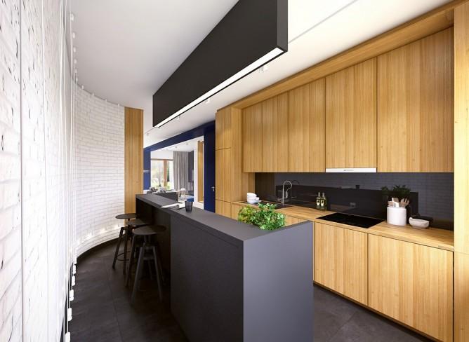 Wedo thiết kế nội thất nhà bếp đẹp với 2 màu đen trắng và gỗ tự nhiên