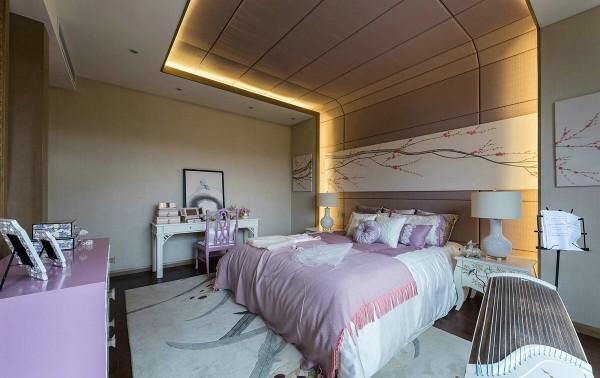 thiết kế nội thất phòng ngủ biệt thự với tone màu hồng dịu ngọt