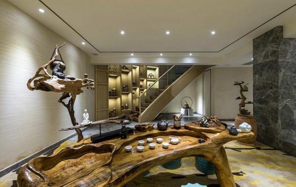 nội thất gỗ lũa sang trọng cho biệt thự sang trọng mang phong cách của những năm 80