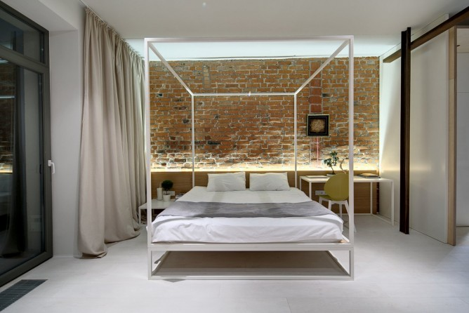 Wedo thiết kế nội thất với gạch trần đơn giản, hiện đại cho phòng ngủ