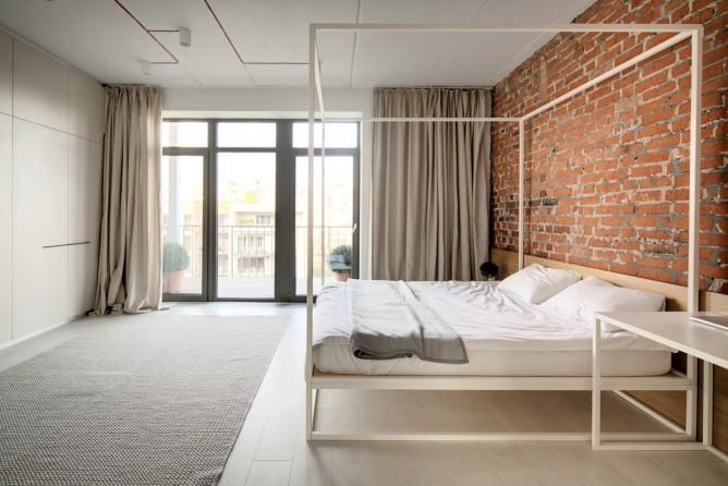 Wedo thiết kế nội thất với gạch trần đơn giản, hiện đại cho phòng ngủ gia đình trẻ