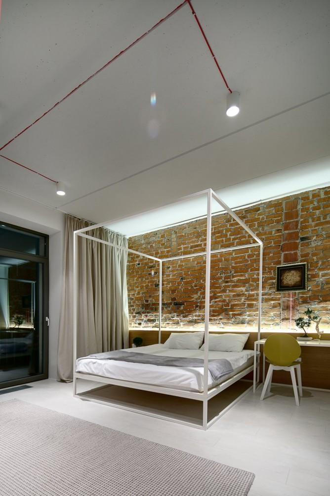Wedo thiết kế nội thất với gạch trần đơn giản, hiện đại cho phòng ngủ nhà đẹp