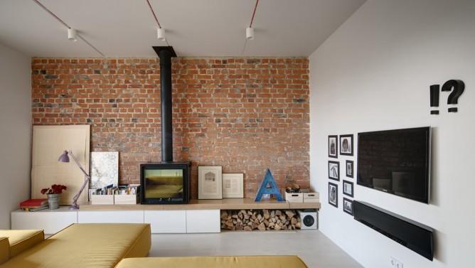 Wedo thiết kế nội thất với gạch trần đơn giản, hiện đại cho phòng khách