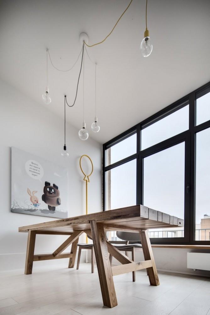 Wedo thiết kế nội thất với gạch trần đơn giản, hiện đại cho phòng ăn nhà đẹp