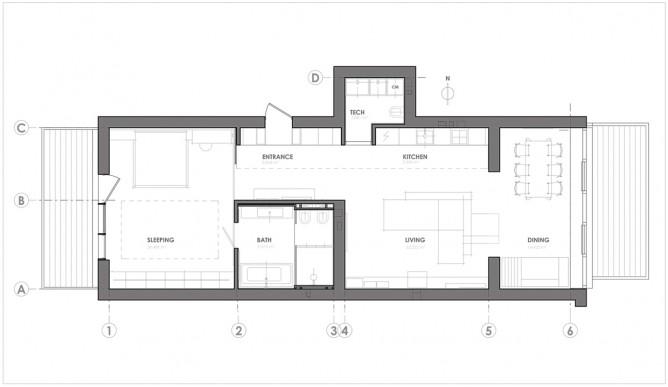 Bản vẽ thiết kế nội thất căn hộ đơn giản, hiện đại với gạch trần