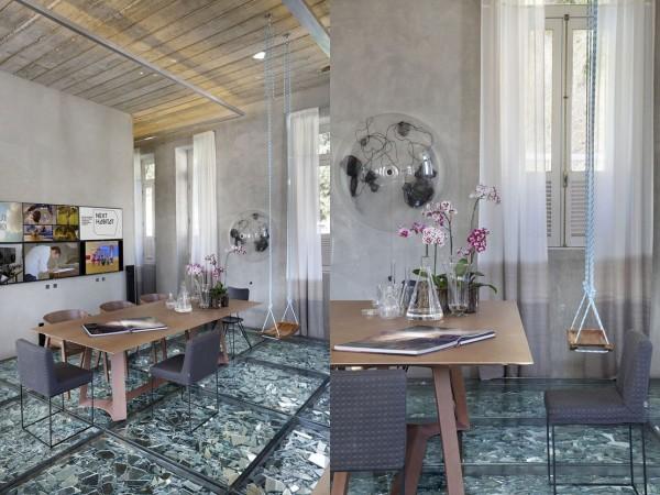 Wedo thiết kế nội thất phòng ăn ang trọng, độc đáo với sàn ép kính vỡ