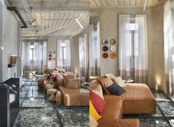Wedo thiết kế nội thất phòng khách sang trọng, độc đáo với sàn ép kính vỡ