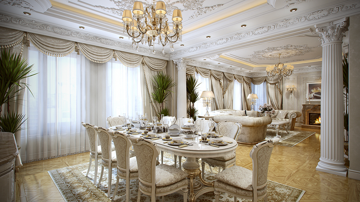 Thiết kế nội thất phòng ăn ang trọng theo phong cách cổ điển thời đại Louis của Pháp