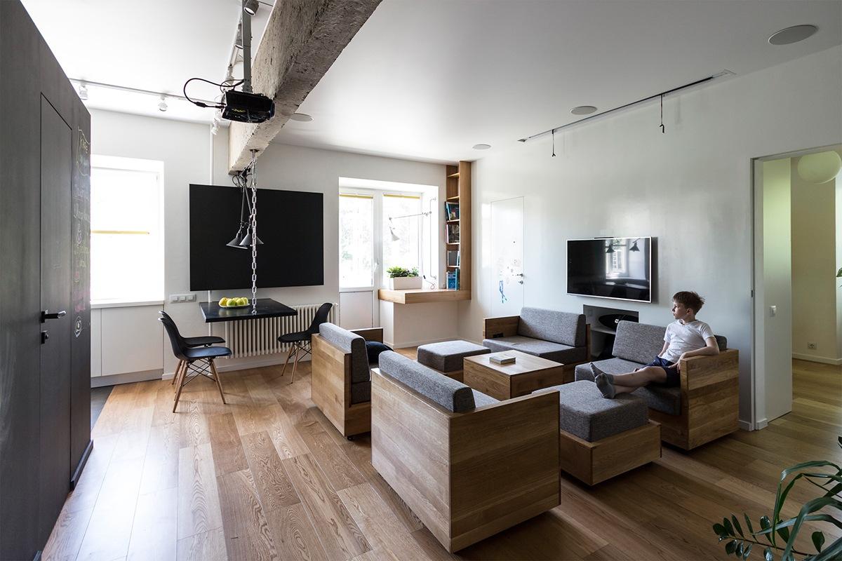 thiết kế nội thất độc đáo, thông minh và đa năng cho phòng khách nhỏ