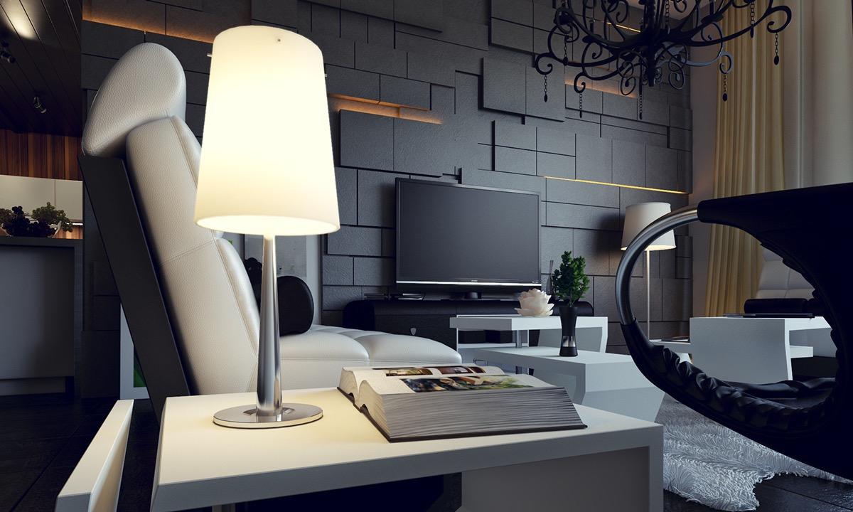 thiết kế, trang trí mảng tường phòng khách độc đáo, sang trọng