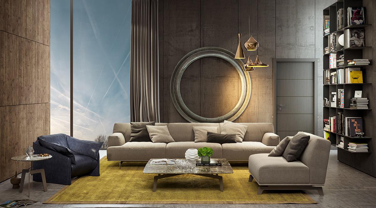 thiết kế nội thất phòng khách sang trọng với tường độc đáo