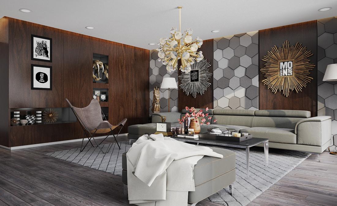 thiết kế nội thất phòng khách đẹp với mảng tường độc đáo