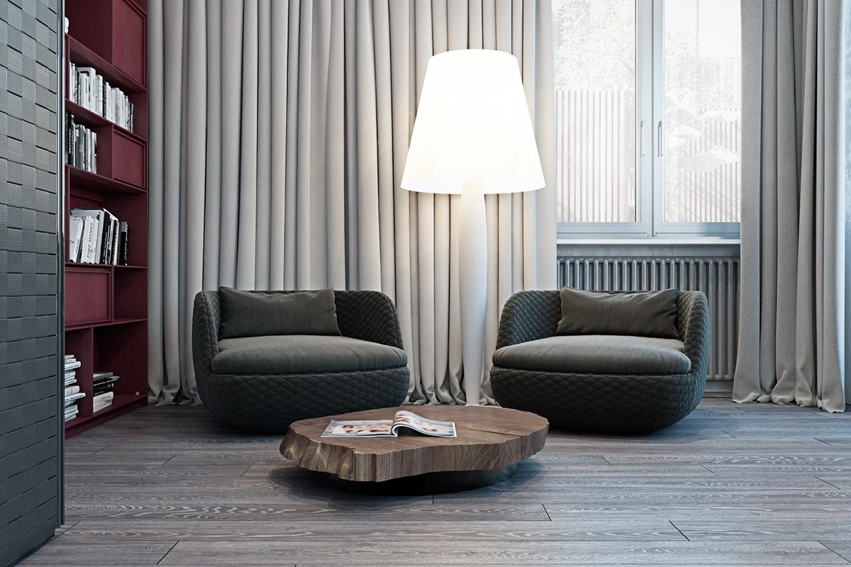 thiết kế nội thất màu xám cho phòng khách hiện đại kết hợp truyền thống