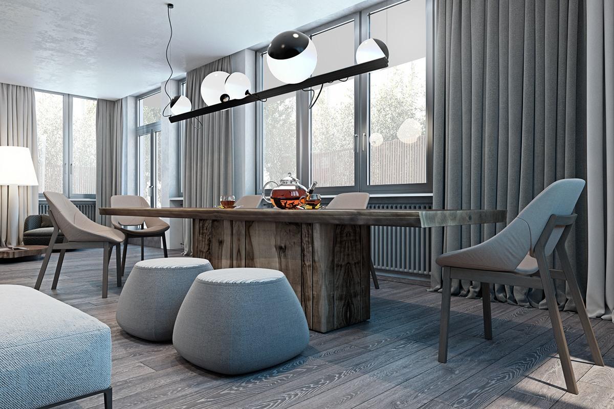 thiết kế nội thất màu xám cho phòng ăn hiện đại kết hợp truyền thống